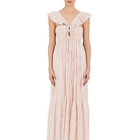 Arian Striped Cotton Reversible Maxi Dress