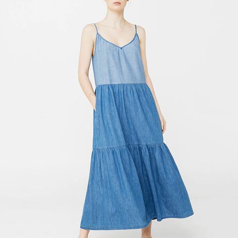 Contrasting Denim Dress
