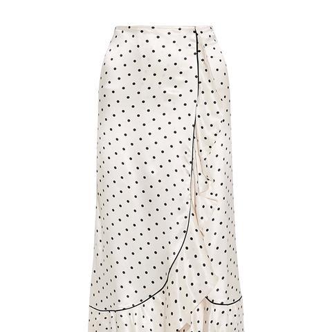 Leclair Ruffled Polka-Dot Satin Midi Skirt