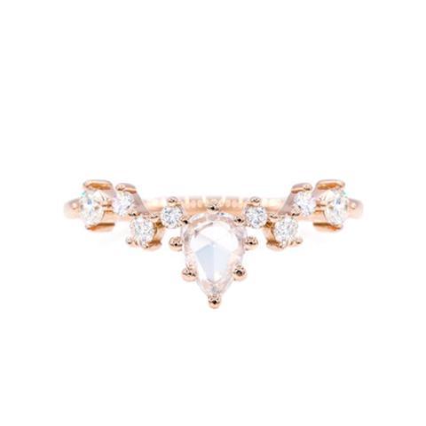 Rose Cut Pear Diamond Cluster Ring