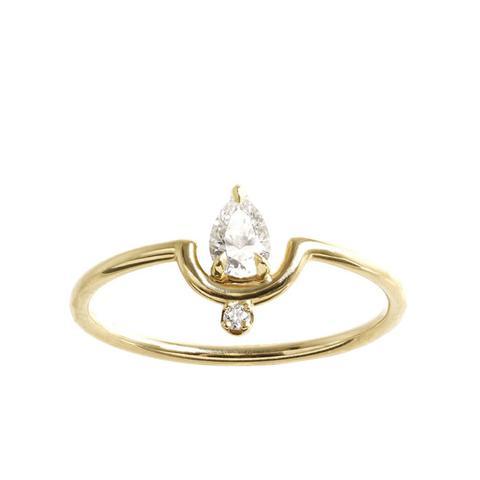 Nestled Pear Diamond Ring
