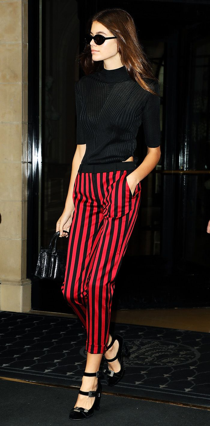 Kaia Gerber wearing Topshop striped trousers