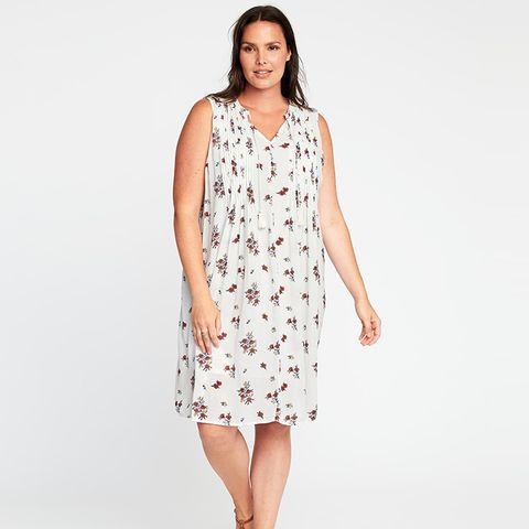 Printed Pintucked Plus-Size Swing Dress