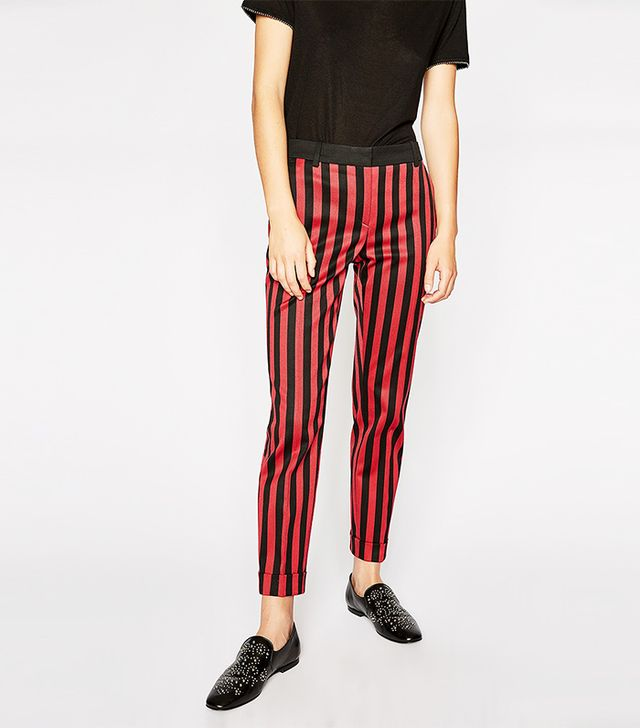 The Kooples Trousers With Vertical Red and Black Stripes