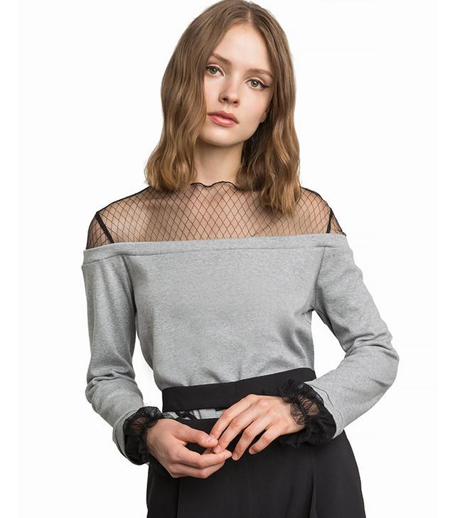 Pixie Market Tess Fishnet Off the Shoulder Sweatshirt