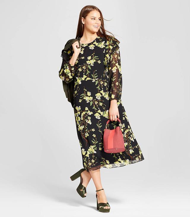 Plus Size Flutter Shoulder Dress