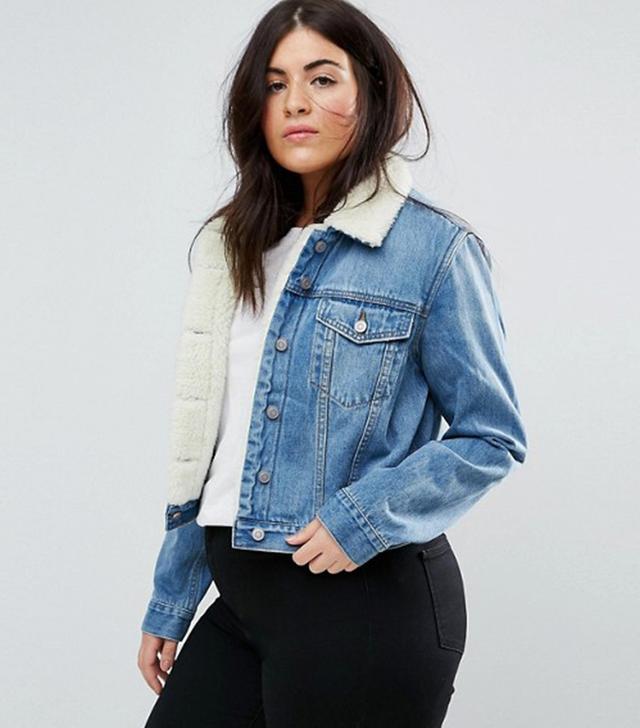 ASOS CURVE Denim Shrunken Borg Jacket in Tammy Midwash Blue