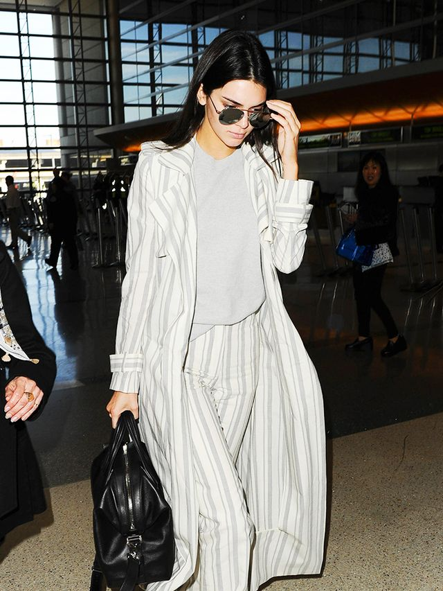 kendall jenner airport striped two piece