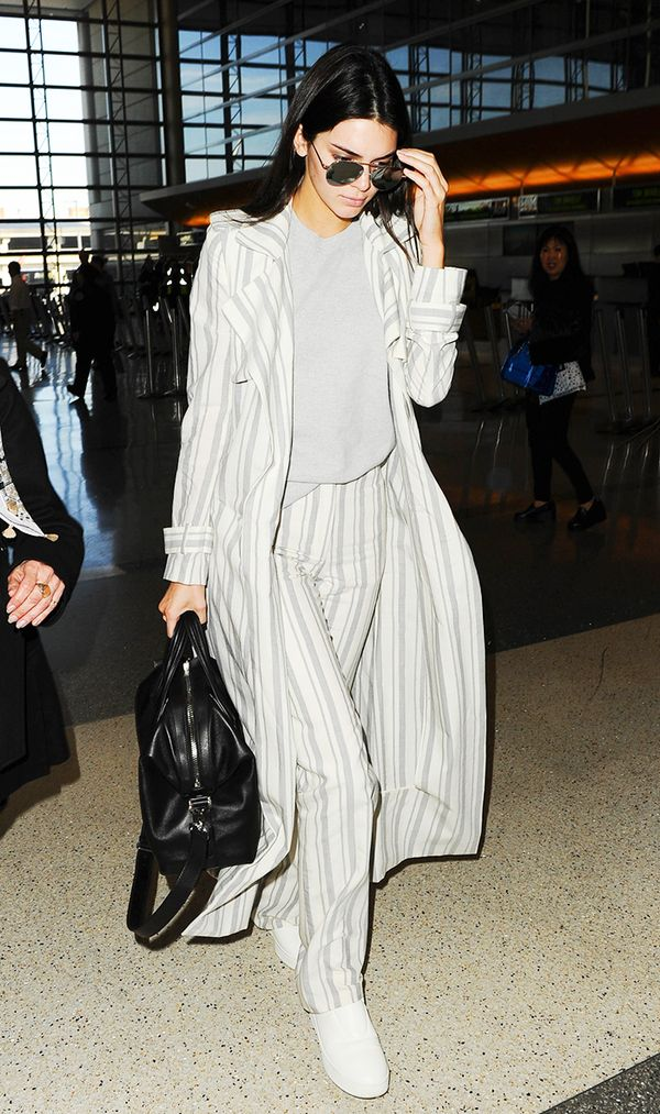 kendall jenner airport striped two piece white slip on sneakers