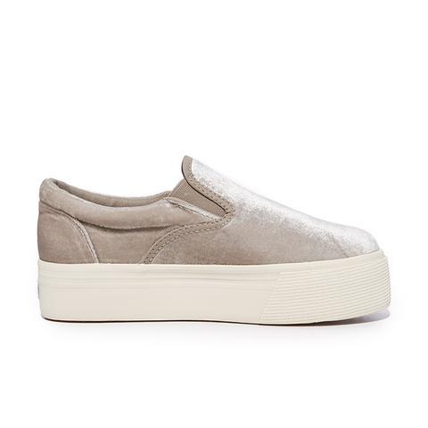 Velvet Platform Slip On Sneakers