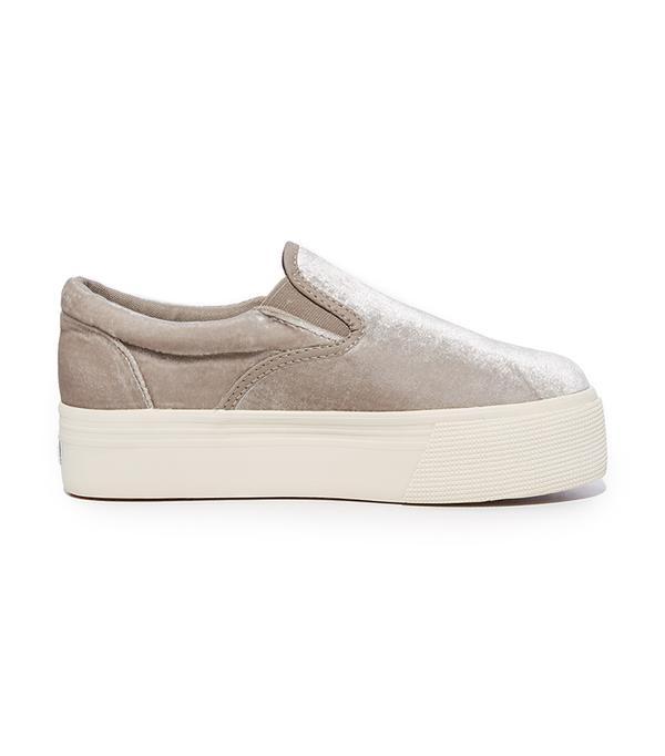 2314 Velvet Platform Slip On Sneakers