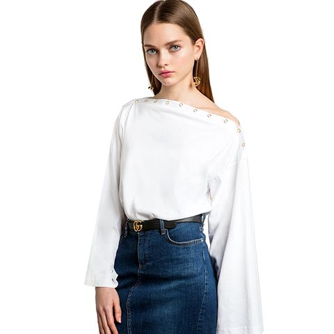 White Shoulder Snap Button Oversize Top