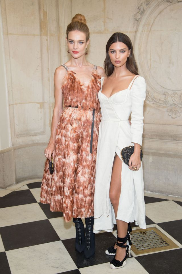 Natalia Vodianova and Emily Ratajkowski in Paris for Fashion Week