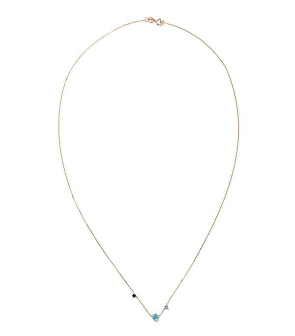 Three Step 14-karat Gold Multi-stone Necklace