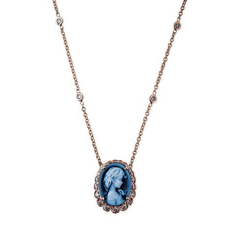 Blue Brooke Cameo Necklace
