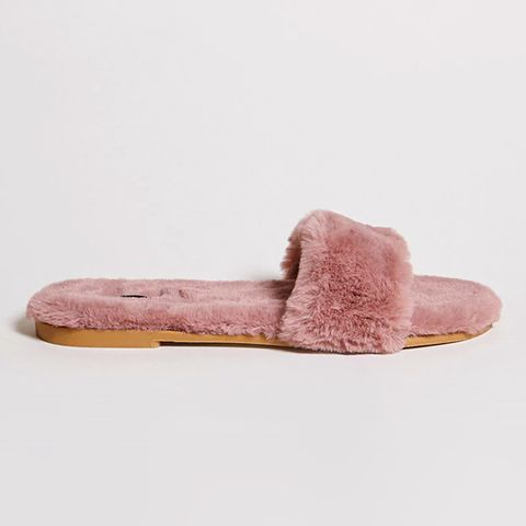 Faux Fur Open-Toe Slides