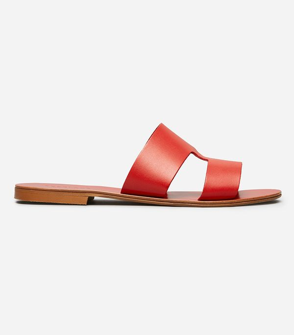 Women's  Flat Leather Sandal by Everlane in Red, Size 10.5