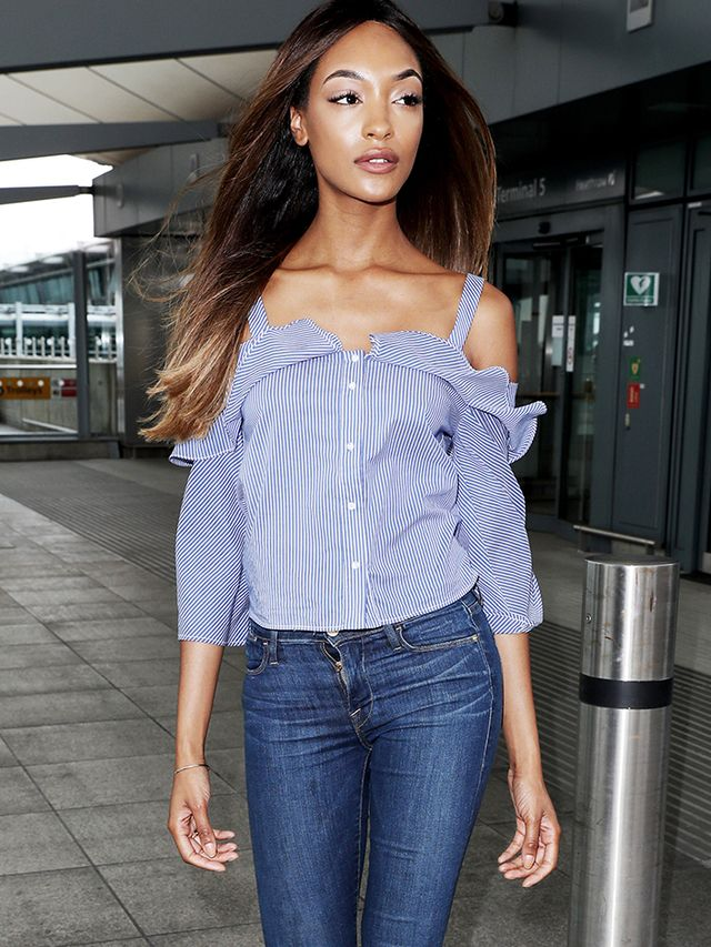 miranda kerr airport white top ripped denim birkenstocks