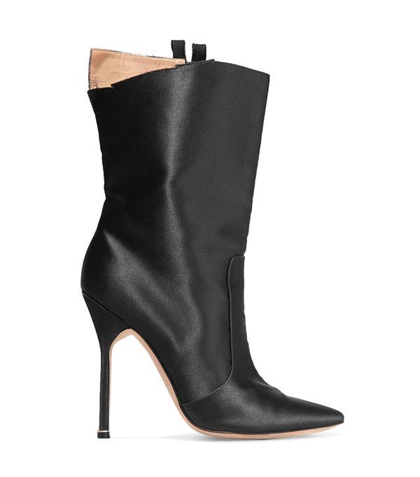 Manolo Blahnik Cutout Satin Boots