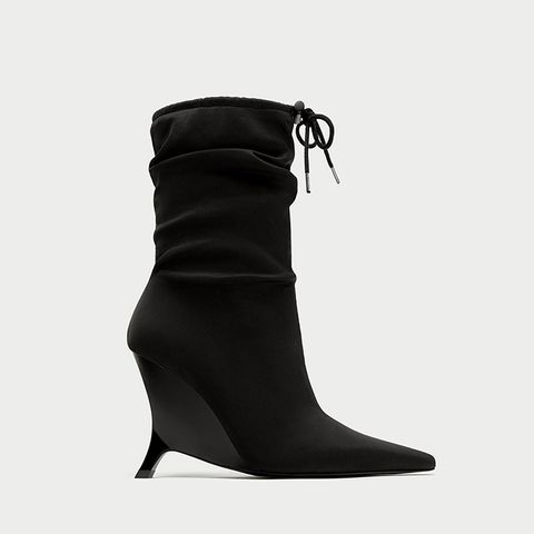Pointed High Heel Ankle Boot With Gathered Detail