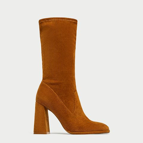 Corduroy High Heel Ankle Boots