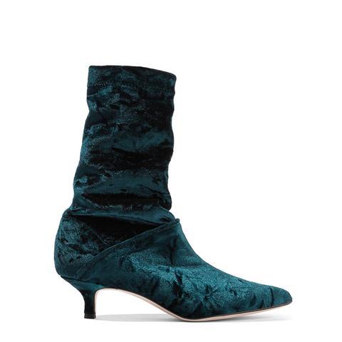 Harper Crushed-Velvet Boots
