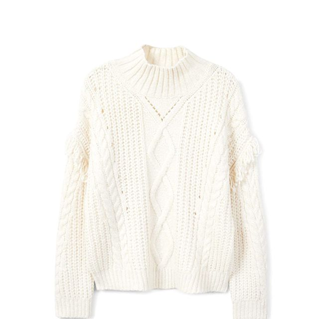 Fringes cable-knit sweater