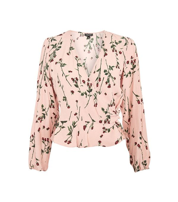 Rose Bud Long Sleeve Wrap Top
