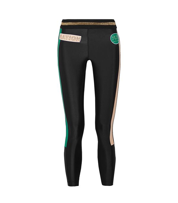 On Deck Appliquéd Striped Stretch-jersey Leggings