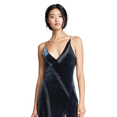 Spliced Velour Maxi Dress