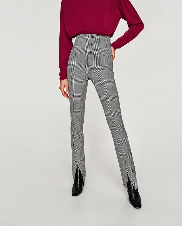 Zara Checked High Waist Leggings
