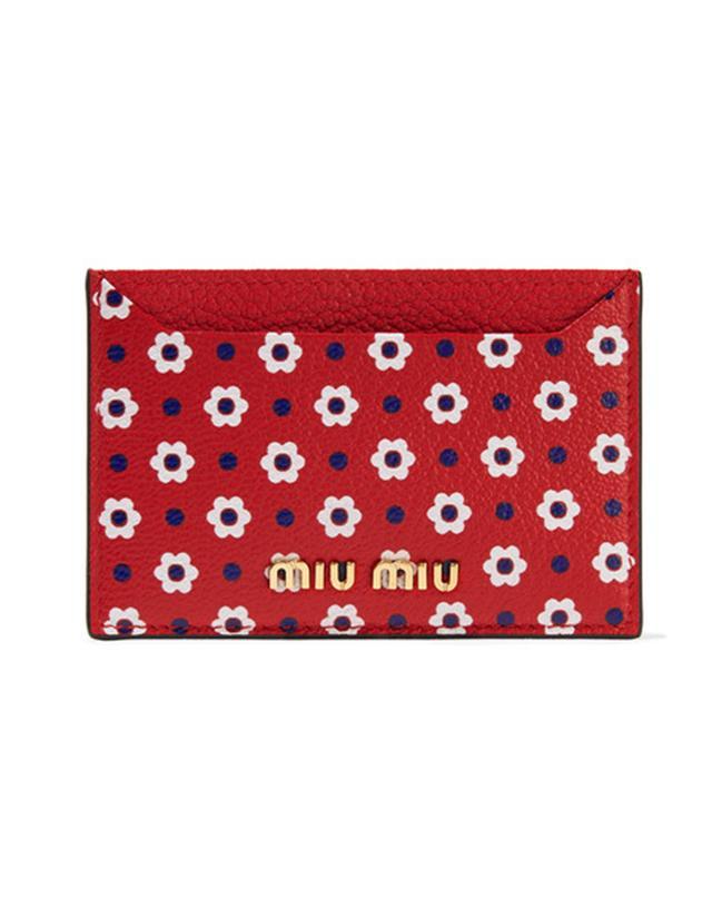 Miu Miu Printed Textured-Leather Cardholder