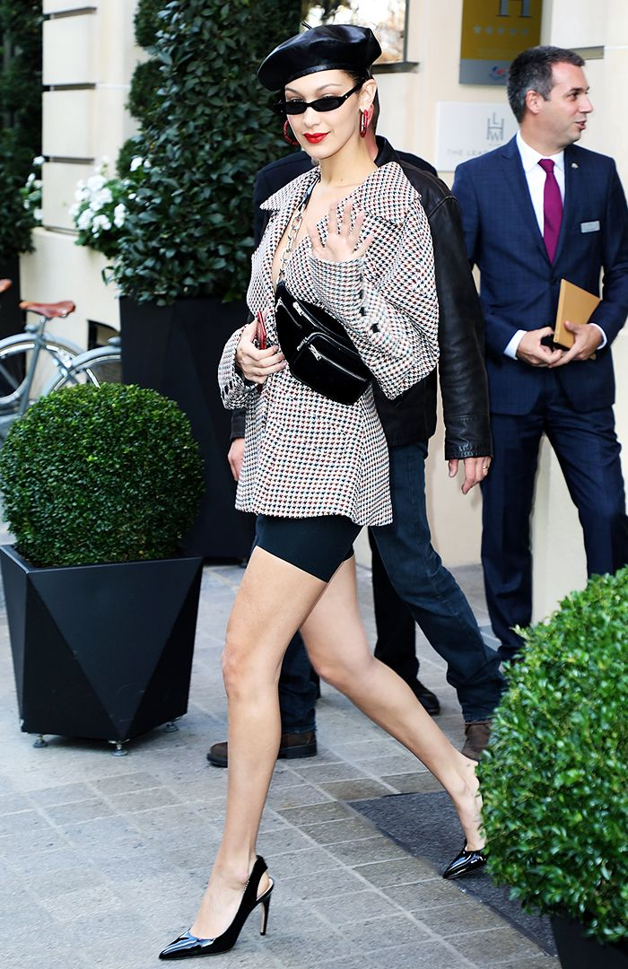 Bella Hadid Beret: Bella Hadid out and about in Paris