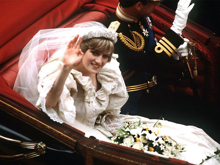 Princess wedding dresses: Princess Diana of Wales wearing a bridal gown from David and Elizabeth Emanuel