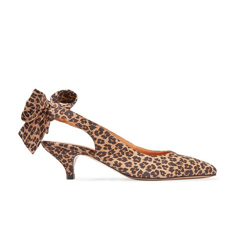 Sabine Leopard-Print Suede Slingback Pumps