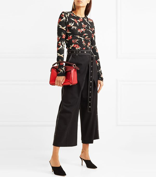 Domino Ruched Floral-print Stretch-crepe Top