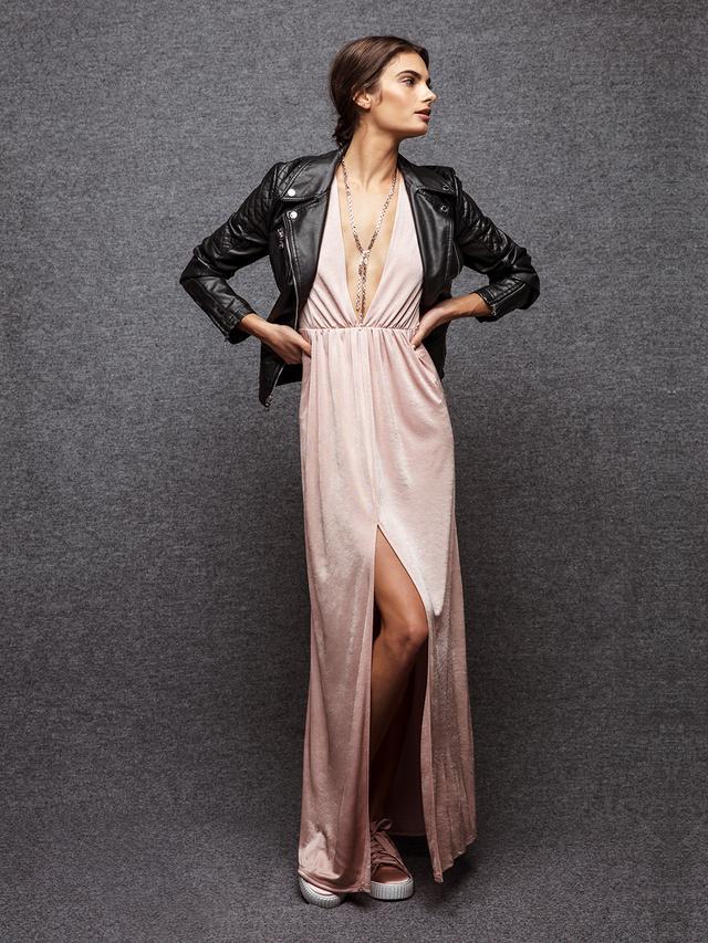 pink maxi dress leather jacket