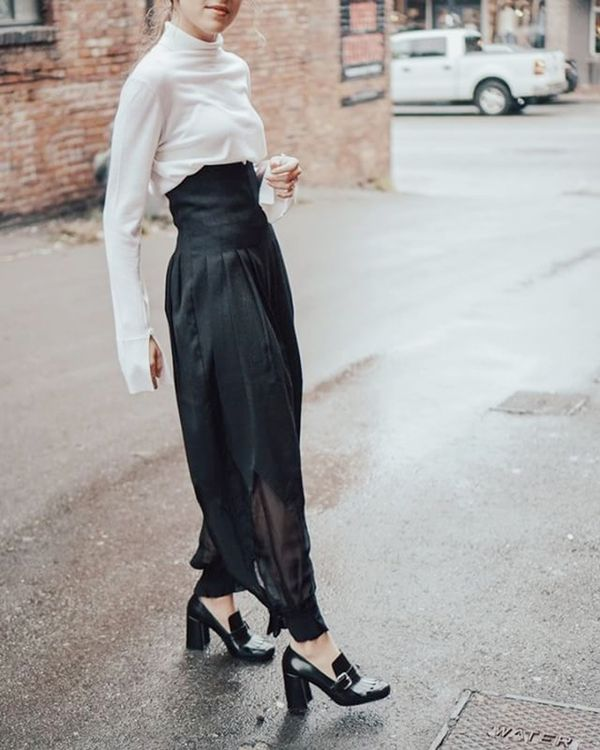 Day 1: Pair a turtleneck with statement trousers.