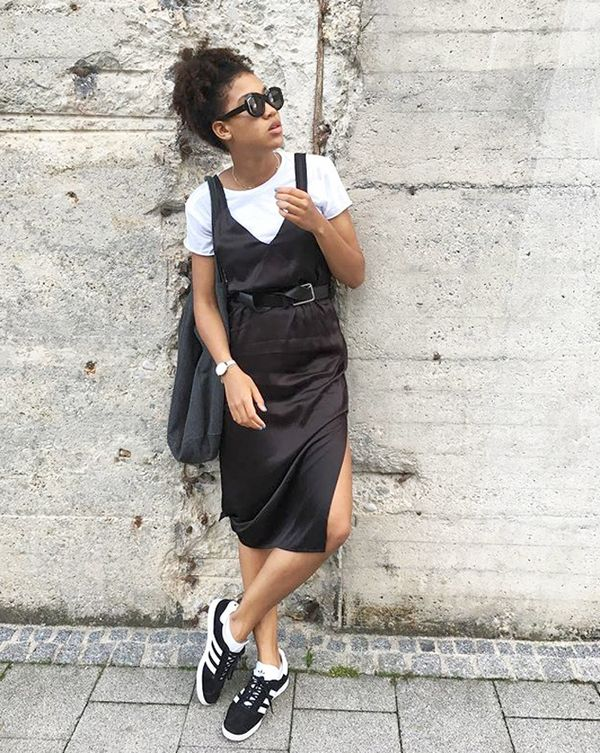 Day 11: Make your slip dress appropriate for fall by layering.