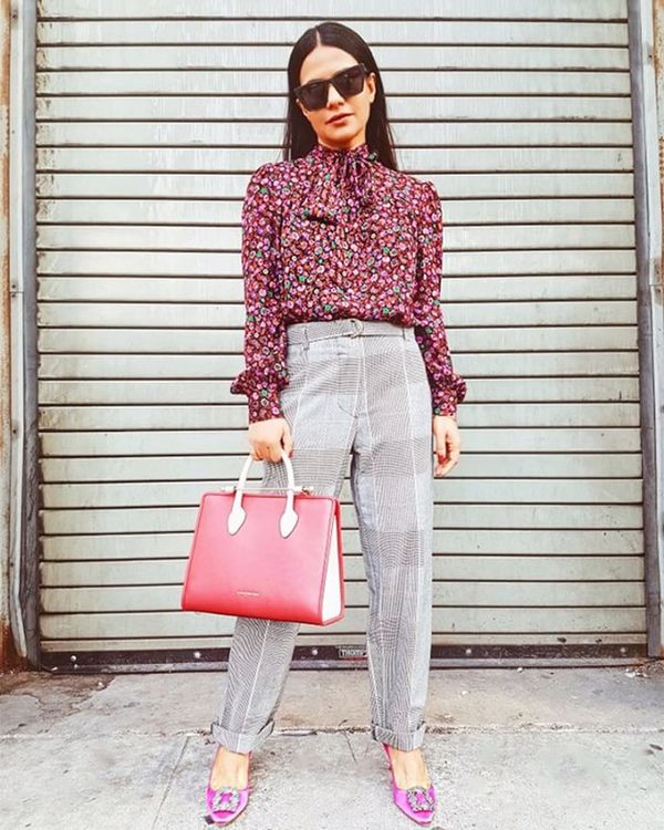 Day 9: Mix unexpected prints for a bold office look.
