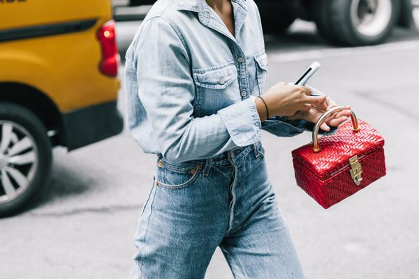 Day 20: Add a pop of red to your denim on denim.