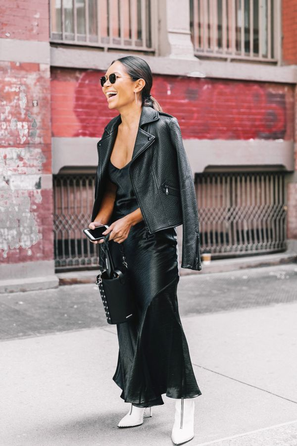 Day 25: Wear all black with sleek white ankle boots.
