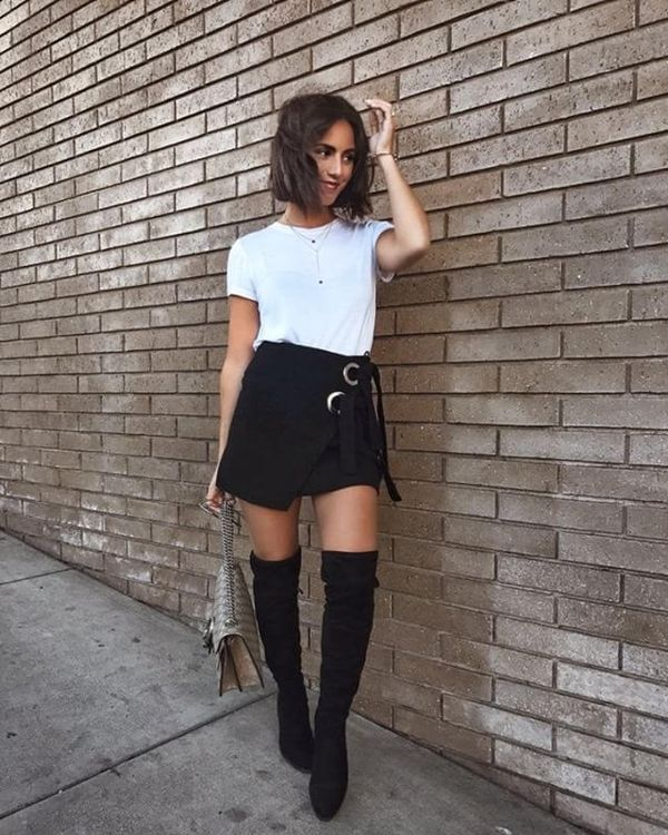 Day 15: Transition your summer skirts into fall with over-the-knee boots.