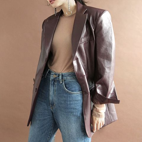 Notched Lapel Pleather Jacket