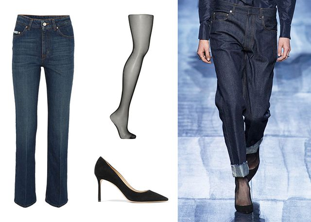 Take a cue from the fall runway at Christian Dior and layer a straight-leg indigo-blue silhouette over thin, opaque black tights. Offset the straight cut with black pointed-toe pumps for a...