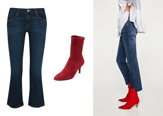Add some attitude to your cropped, flared dark-wash denim with red sock boots. This refreshingly cool look will take you from desk to drinks in the utmost style.