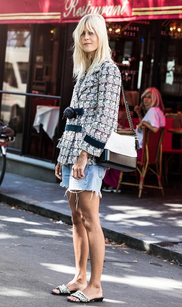 Denim Shorts + Tweed Jacket + Slides
