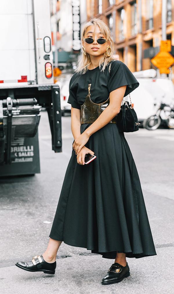 Maxi Dress + Corset Belt + Buckled Brogues