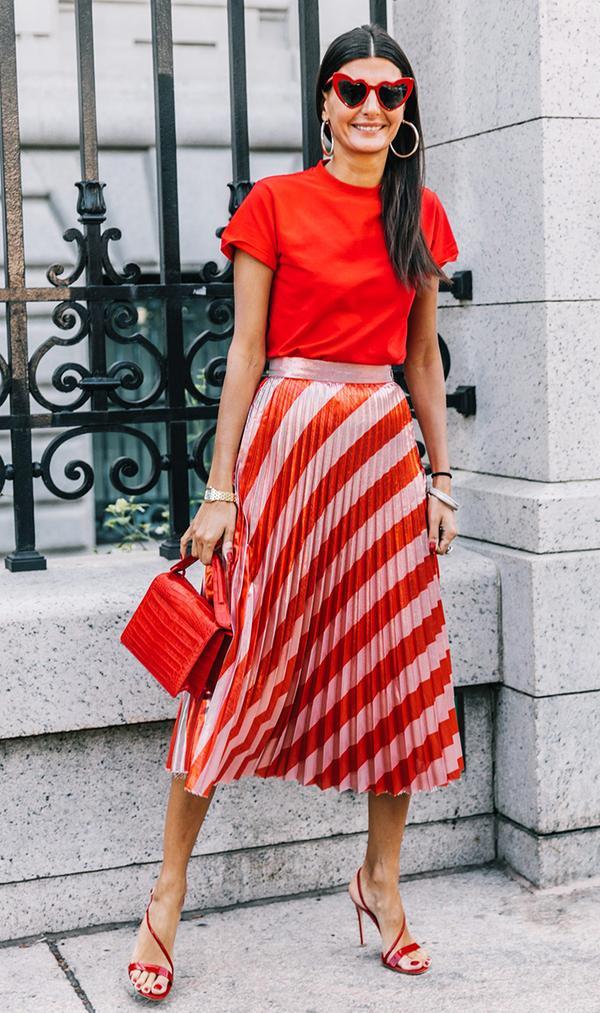 Pleated Skirt + T-Shirt + High-Heel Sandals