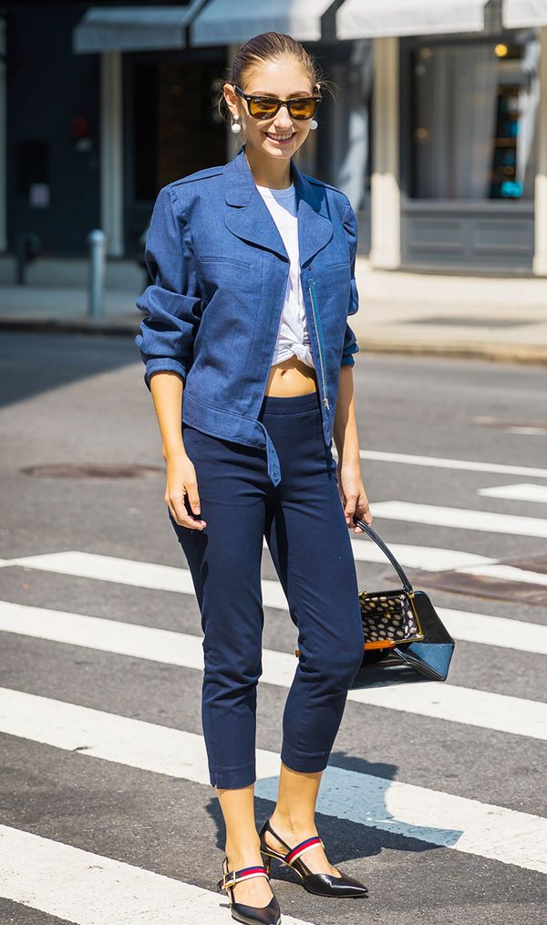 Cropped Pants + Jacket + Cropped Tee + Pumps